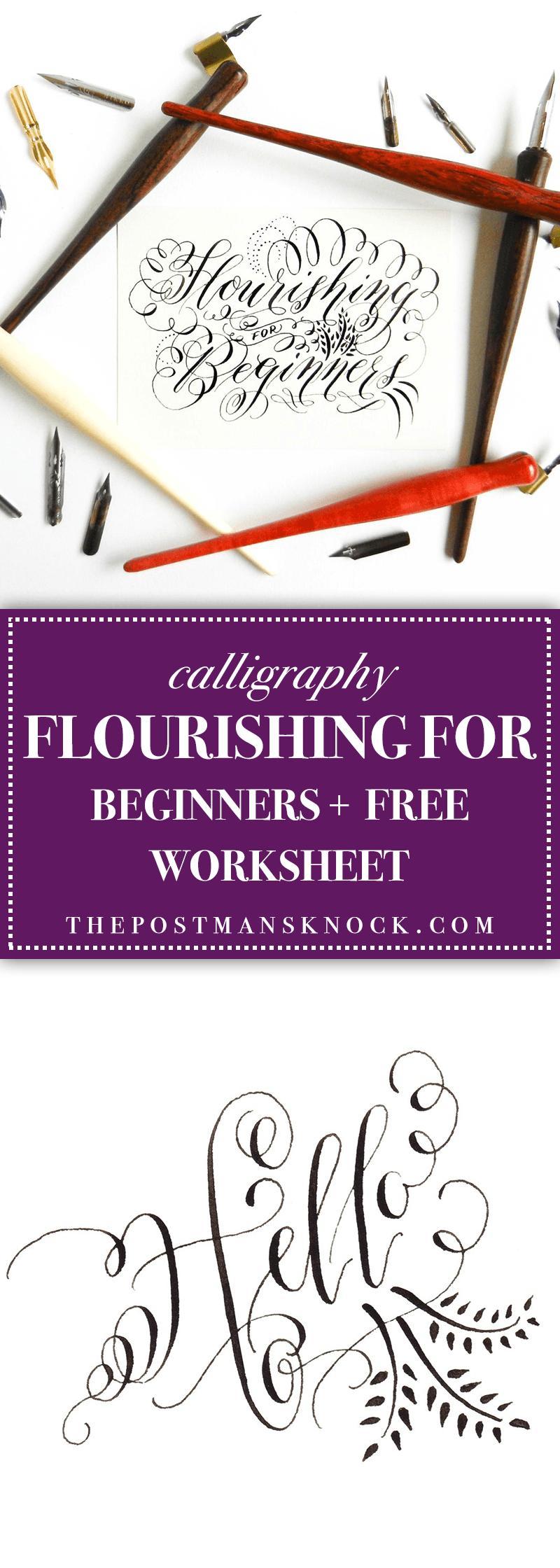 Calligraphy Flourishing for Beginners + Free Worksheet   Kalligraphie