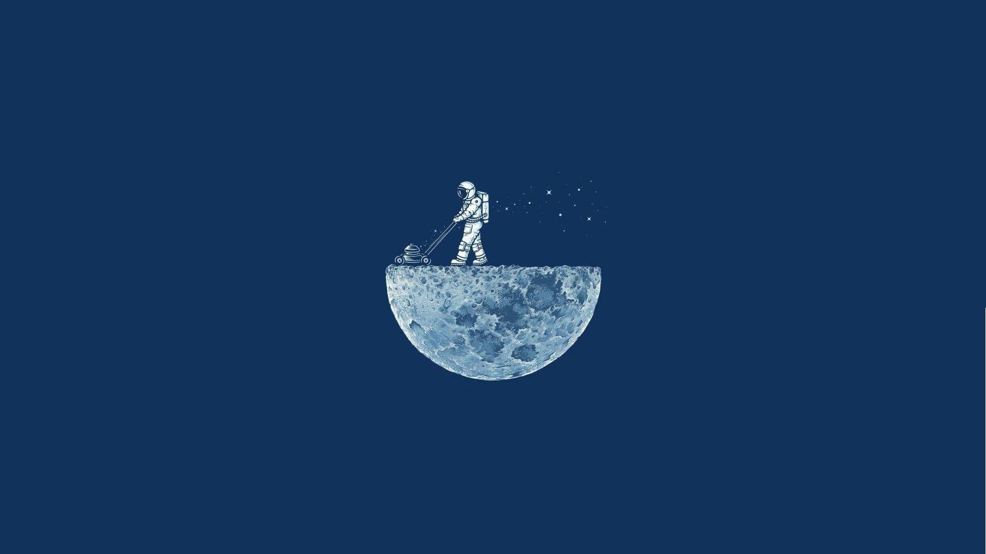 Space Minimalism Blue Background Moon Astronaut Astronauts