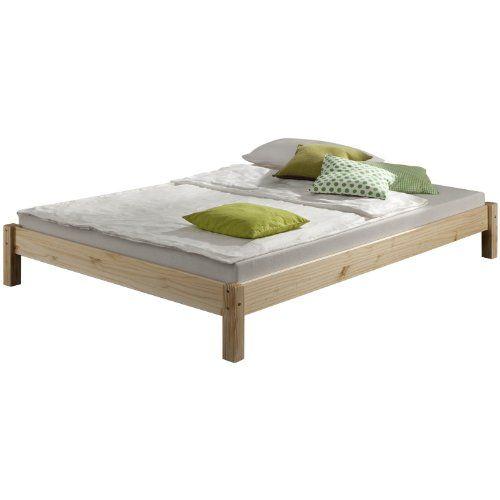 Lit futon TAIFUN 120 x 200 en pin massif, vernis naturel ...