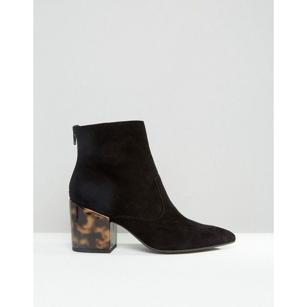 ASOS REACH Pointed Ankle Boots (€66) ❤ liked on Polyvore featuring shoes, boots, ankle booties, pointed booties, pointed-toe ankle boots, ankle boots, pointy toe booties and pointy booties