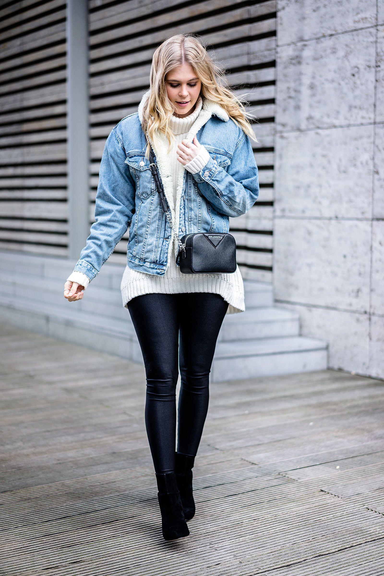 Jeans jacke mit fell