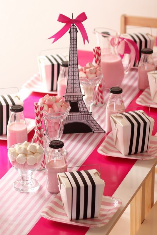 Table Setting Details Including Wrapped Noodle Boxes And Miniature Glass Bottles Paris ThemeParis PartyParis DecorThemed Birthday PartiesFrench