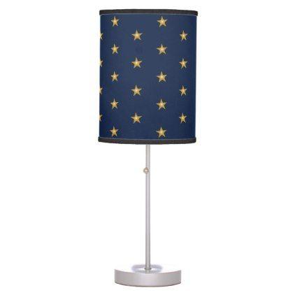 Shiny Gold Little Stars On Dark Blue Table Lamp Zazzle Com Blue Desk Blue Table Lamp Blue Lamp