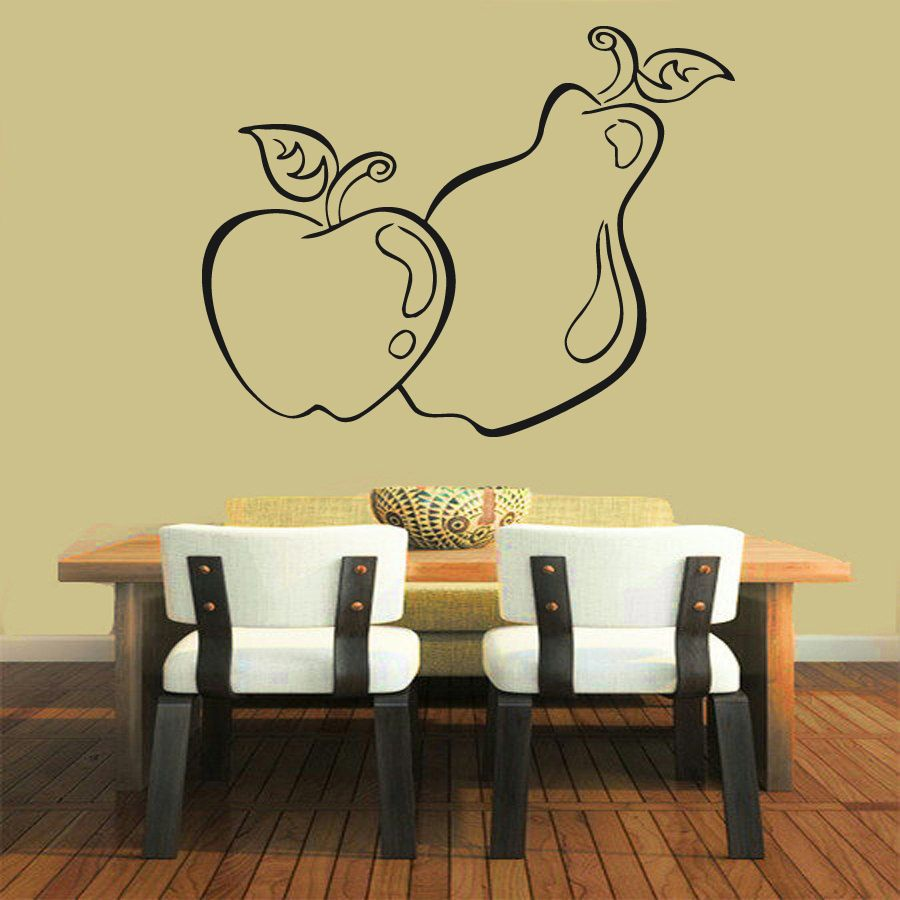 Wall Decals Fruits Vinyl Sticker Pear Apple Decal Cafe Art Kitchen ...