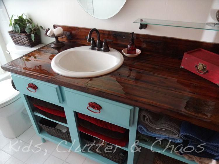 Make A Countertop With Old Fencing Diy Countertops Kitchen Diy