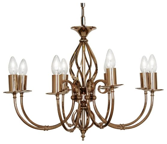 The Tuscany 8 light ceiling pendant has a Spanish design with a copper gun metal finish. Can be flush mounted. The full Oaks lighting Tuscany range is available from luxury lighting.