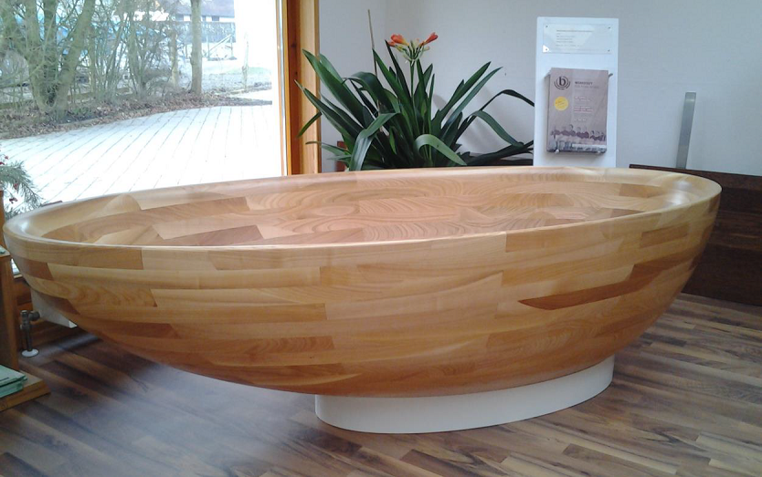 freestanding wood bathtub oak unsymmetrical vancouver bc