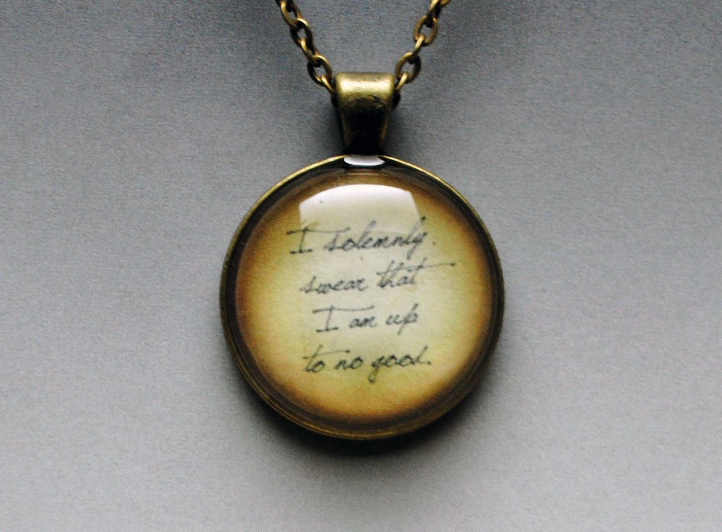 """""""I solemnly swear that I am up to no good"""" Harry Potter necklace by ResinApocalypse on Etsy for $14.00"""