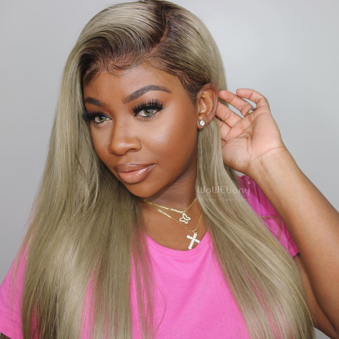 Same Day Shipping Wowebony Indian Remy Hair Natural Straight Dark Roots Blonde Hair Lace Front Wig N360bl01 Blonde Hair With Roots Indian Remy Hair Remy Hair