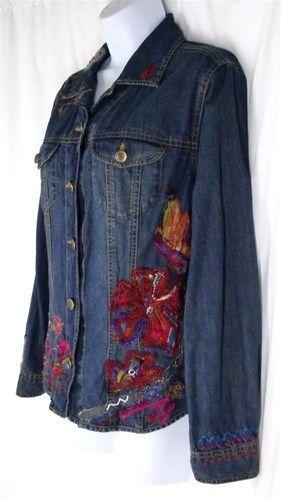 Sz 1 S M Chico S Jean Jacket Embellished Distressed Patchwork Artsy