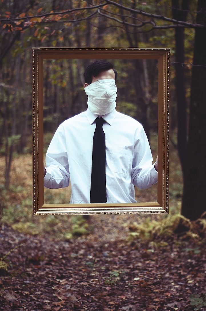 Surreal Images of Faceless Men Stuck Between Two Worlds is part of Clothes Photography Natural - Photographer Christopher Ryan McKenney plays with the visibility of men in nature, masking their faces in draped cloth or removing their heads entirely  Each surreal image depicts an incomplete man who appears to be in the process of either materializing or disappearing into thin air  Mystery surrounds the figure in