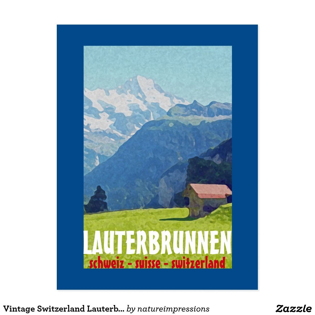 Wall art poster Murren  : Vintage Travel advertising Reproduction.