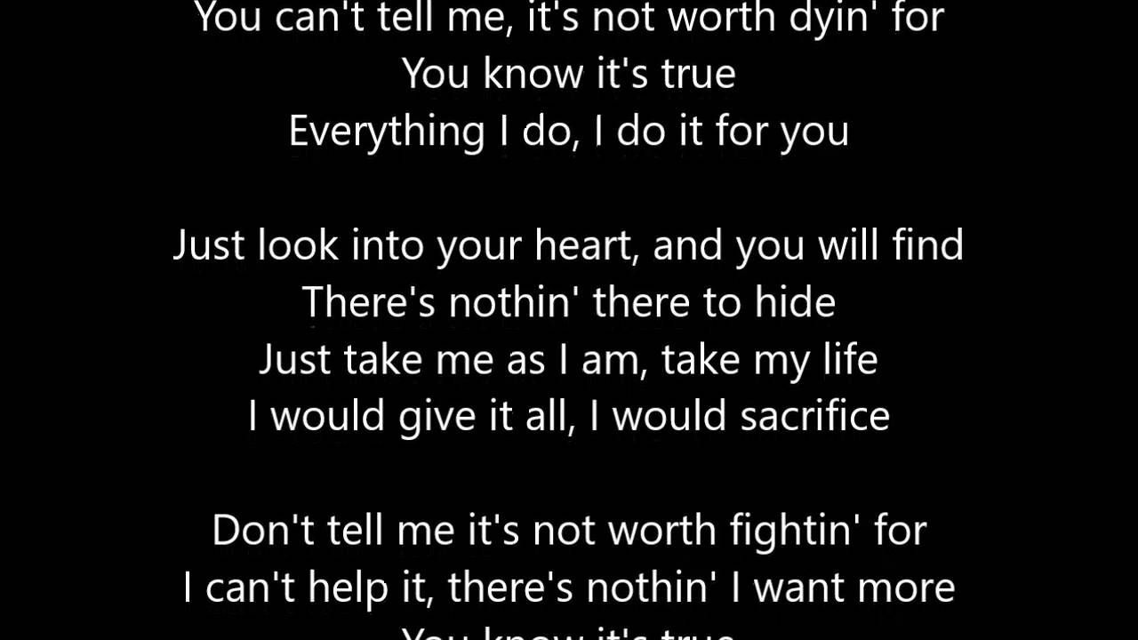 Bryan Adams Everything I Do I Do It For You Lyrics Scrolling