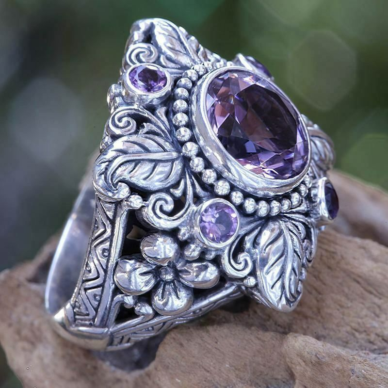 Wholesale Vintage 925 Silver Amethyst Engagement Wedding Ring Jewelry Sz 6-10