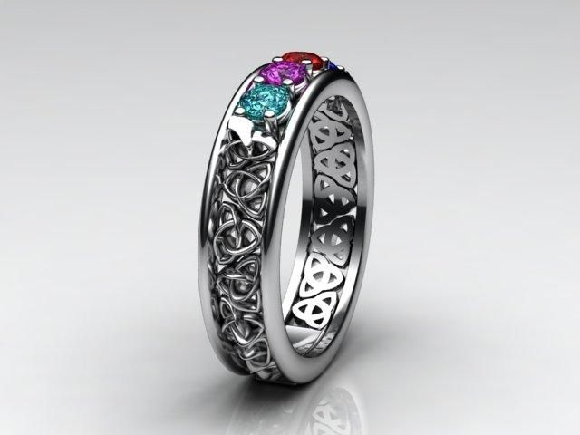 Celtic Style Mothers Ring With Four 3mm Natural Birthstones