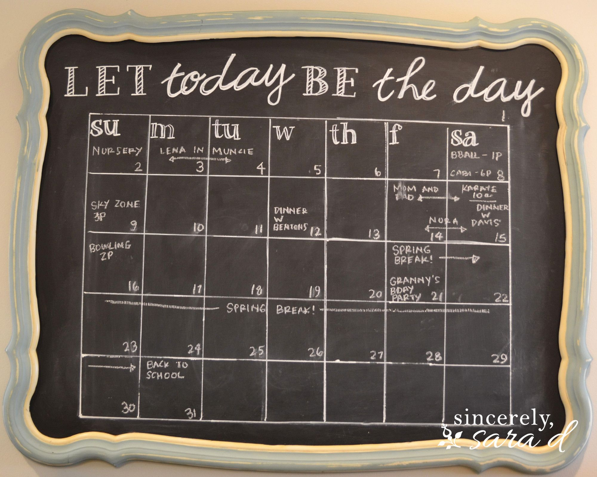 Diy chalkboard calendar sincerely sara d home decor