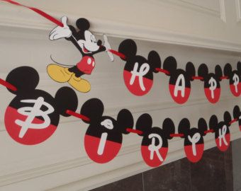 Diy mickey birthday banner kit with fancy font and optional custom do it yourself and save with this do it yourself mickey mouse ears solutioingenieria Image collections