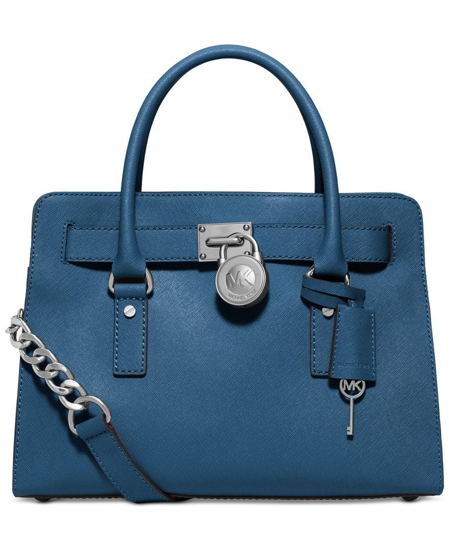 c9560bc59a53 TEAL Michael Kors Hamilton Saffiano Leather East West Satchel - Handbags    Accessories - Macy s
