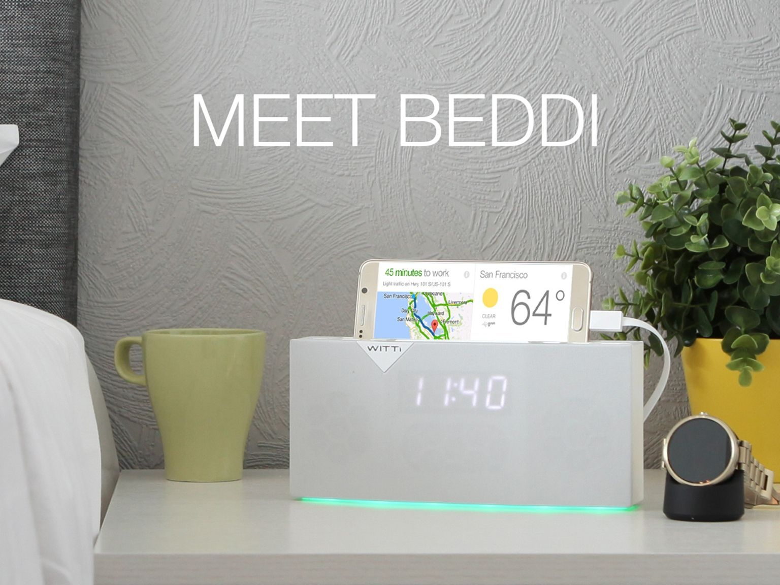 This app-enabled alarm clock/speaker includes Spotify, Uber ...
