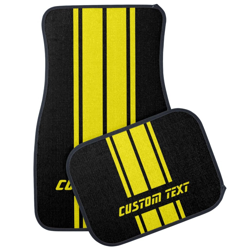 Yellow Race Double Stripes Personalize Car Floor Mat