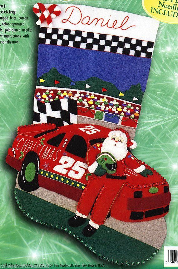 "Bucilla Christmas 500 ~ 18/"" Felt Christmas Stocking Kit #84071 Nascar Santa Race"