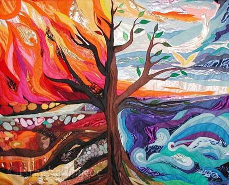 Arts And Elements : Four elements original tapestry jewish art
