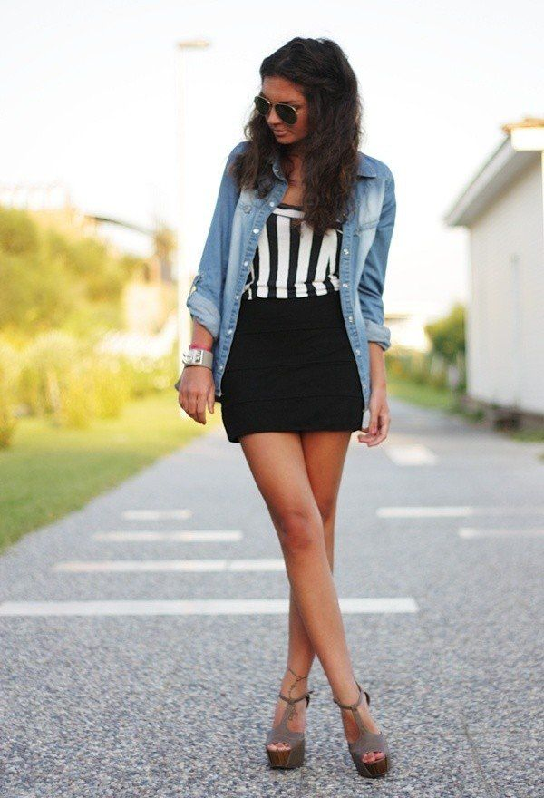 18 Street Style Outfit Ideas With Denim Shirt - fashionsy.com
