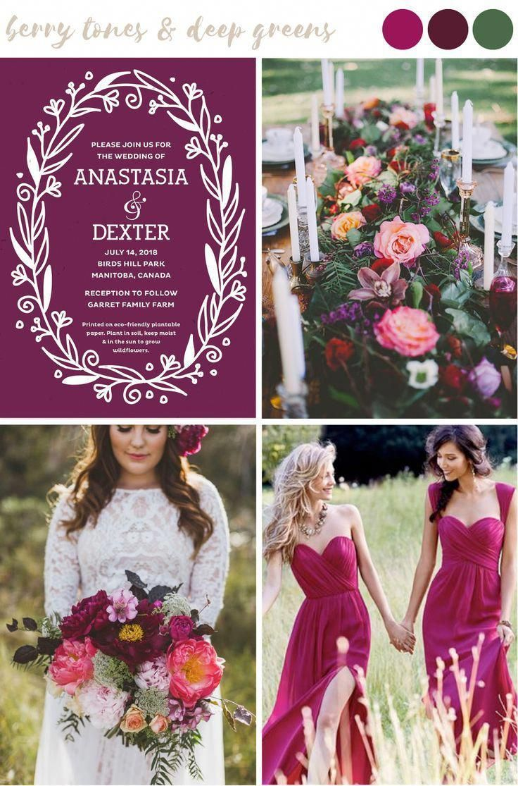 Find wedding color inspiration like this dramatic and romantic mix of berry tones and deep greens for stylish and trendy summer weddings. #summerwedding