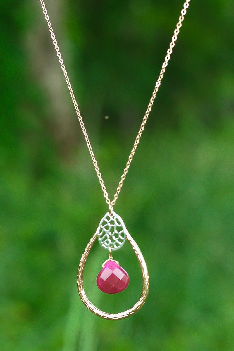 Hope For The Best Necklace-Sangria - Jewelry | The Red Dress Boutique