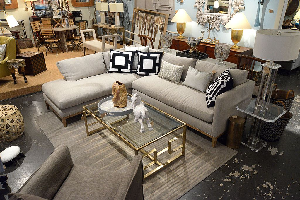 Grey #sectional #sofa with brass #coffee #table at #Mecox #Houston ...