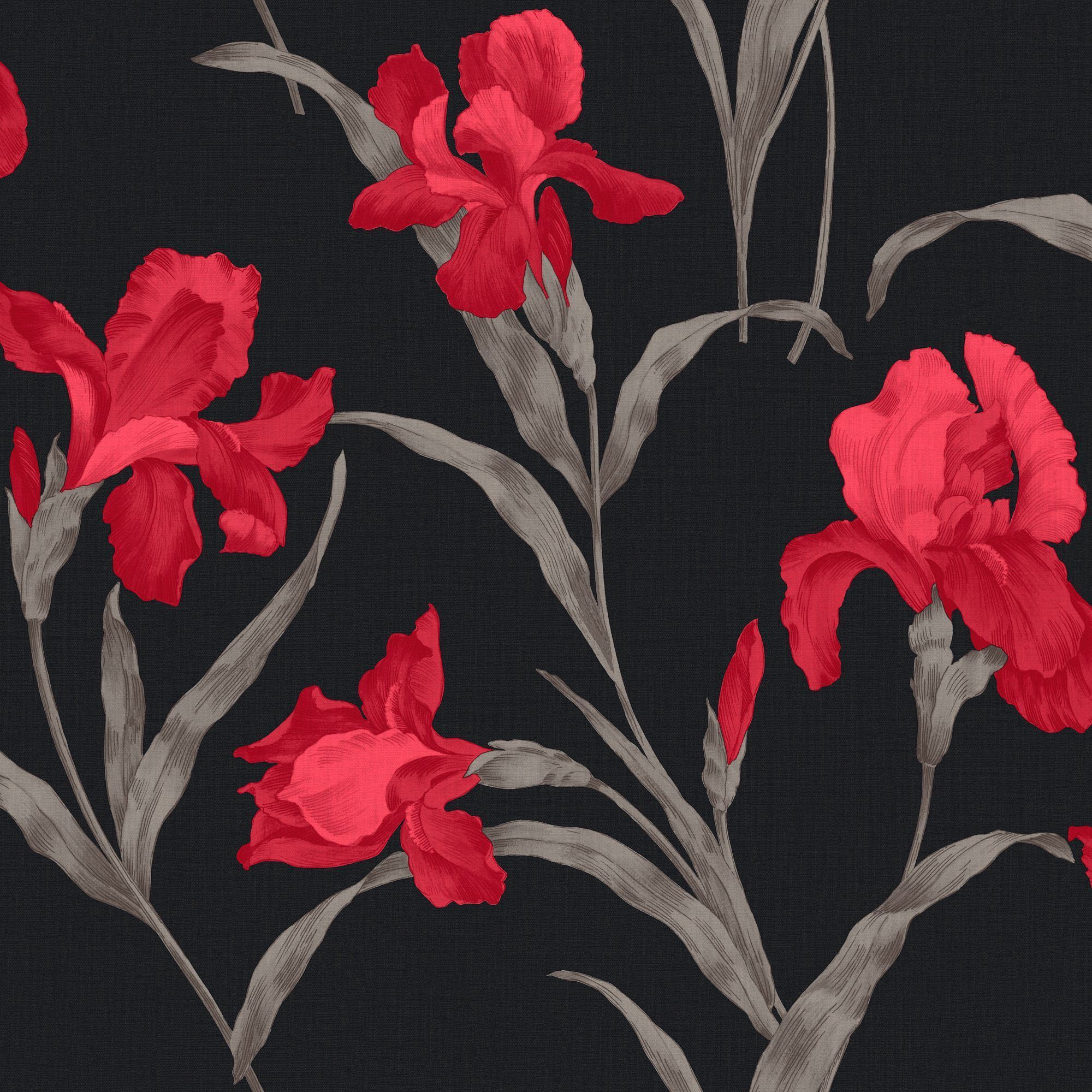 Sophie Conran Fleur Red Wallpaper Departments Diy At B Q Black And Silver Wallpaper Red And Black Wallpaper Magnolia Wallpaper