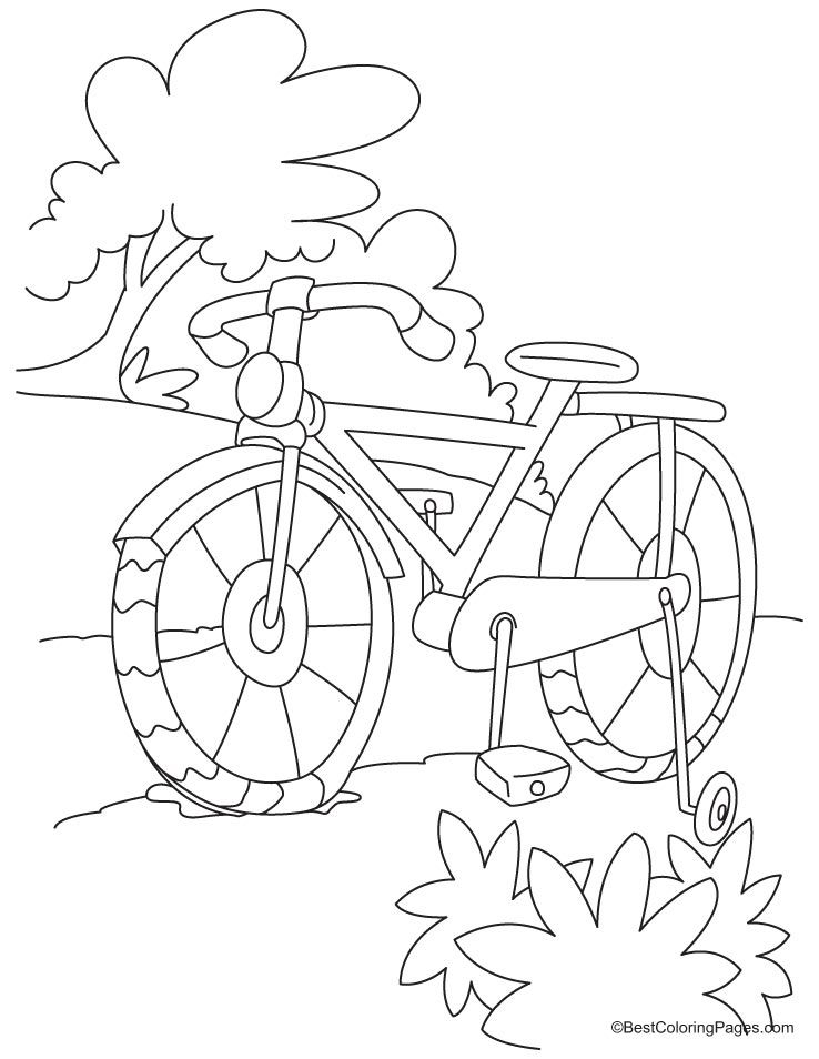 Full Length Kids Bike Coloring Page Daal د Darajah Bicycle