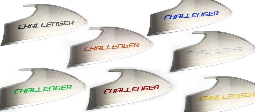 "2015 - 2017 Dodge Challenger - Door Badges Brushed ""CHALLENGER"" Style 2 pc  #ACC"