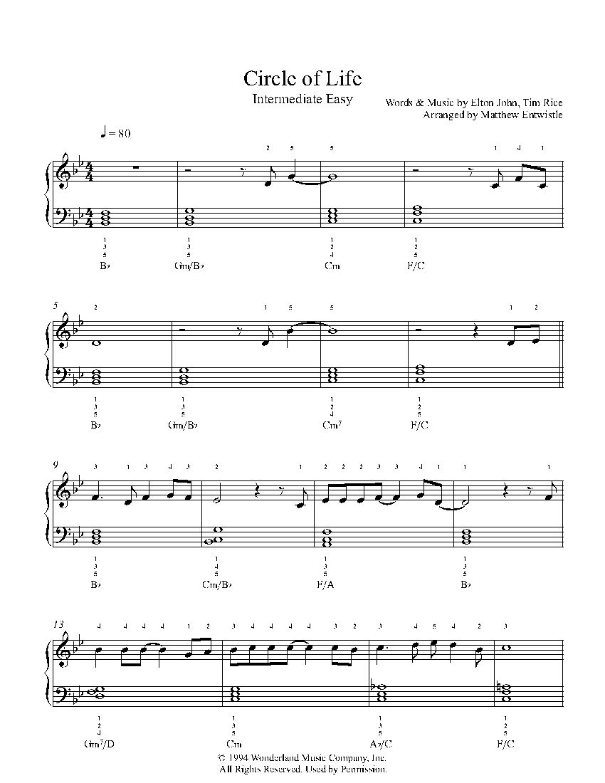 Circle Of Life By Elton John Piano Sheet Music Intermediate