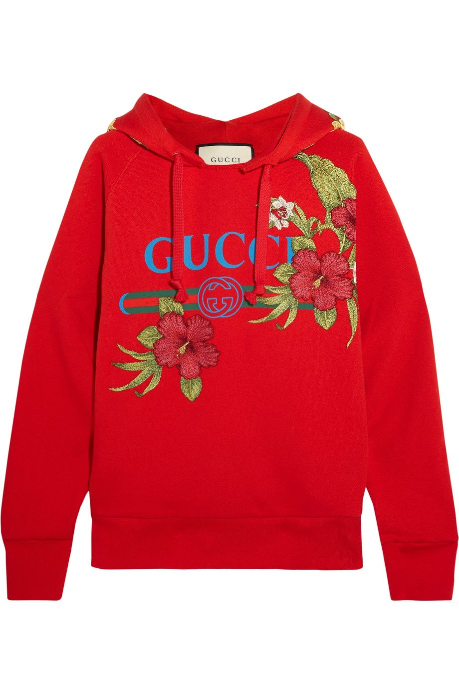 Red Embroidered Printed Cotton Jersey Hooded Top Gucci Ripped Shirts Gucci T Shirt Women Embroidered Hoodie