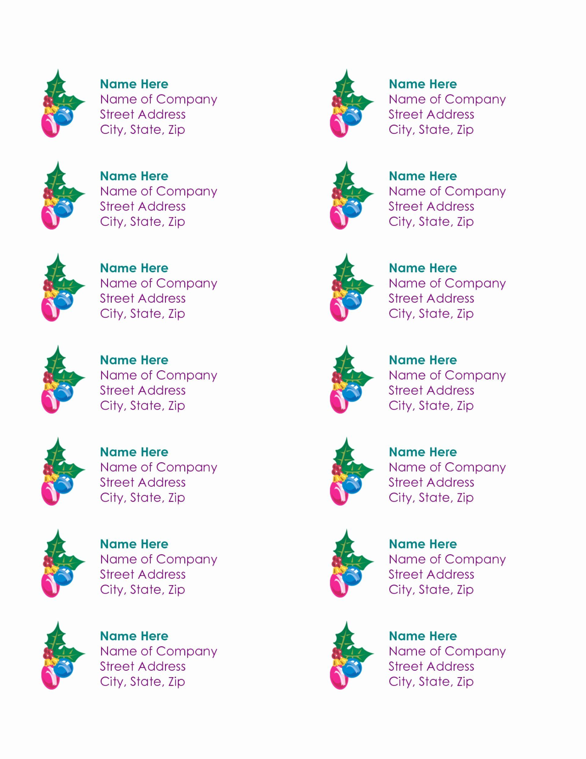 Christmas Mailing Labels Template Free