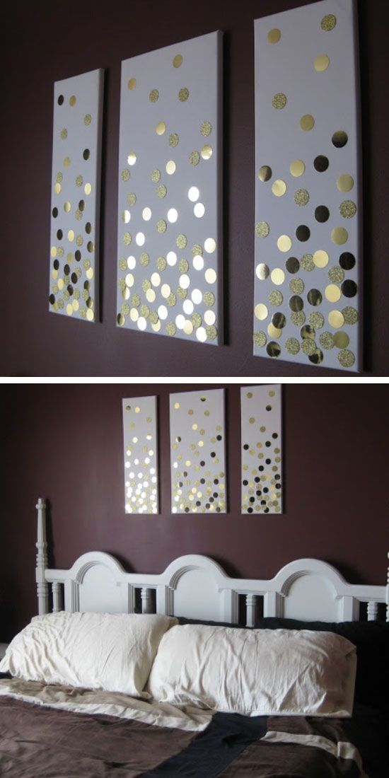 diy canvas wall art using hole punch and gold card click pic for - Diy Wall Decor Ideas For Bedroom