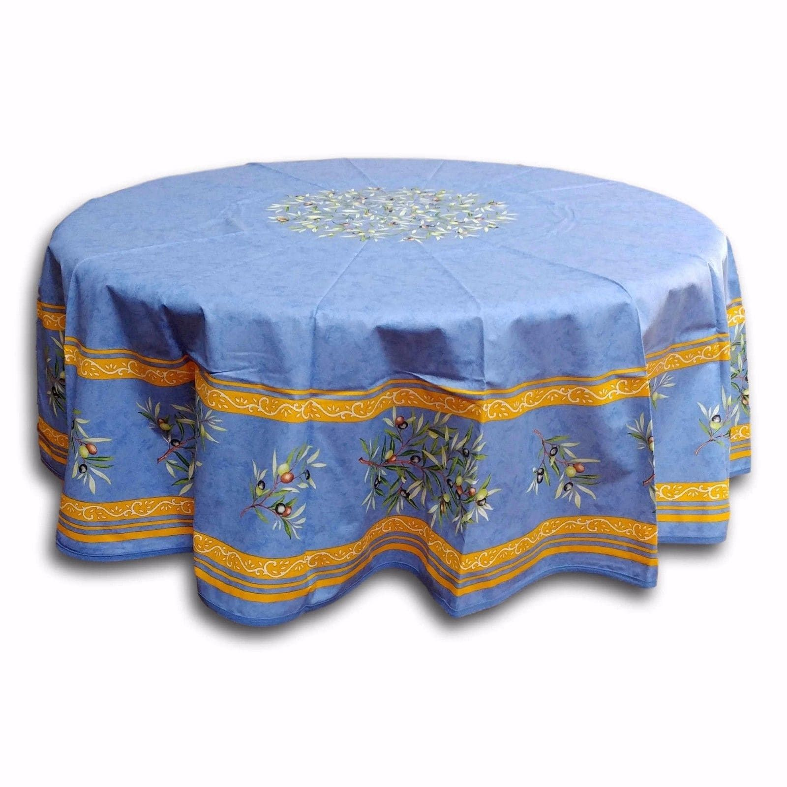 French provencal acrylic coated cotton tablecloth round