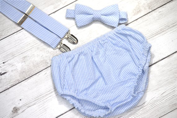 1st Birthday boy cake smash diaper cover bow tie boy clothes  gray stripe royal
