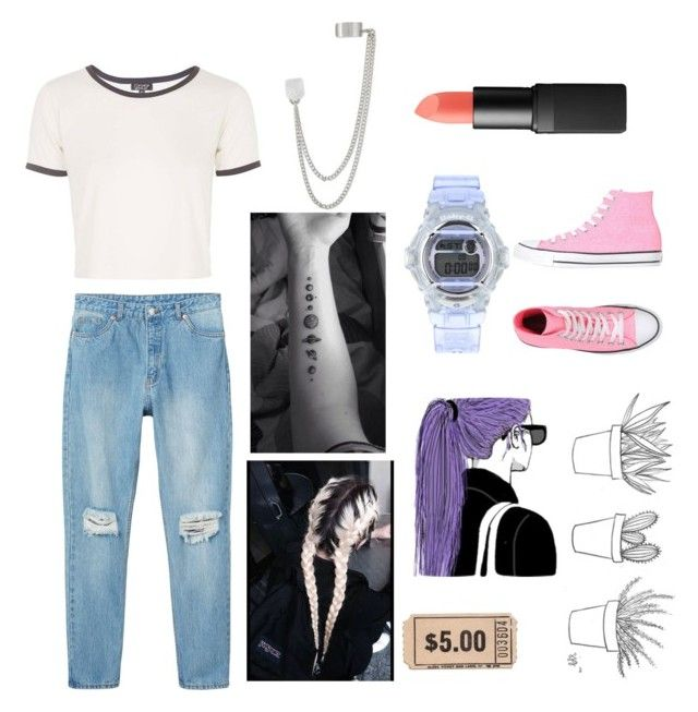 """""""I drove by all the places we used to hangout getting wasted"""" by panic-at-the-fall-out-romance ❤ liked on Polyvore featuring Topshop, Monki, French Connection, NARS Cosmetics and Converse"""