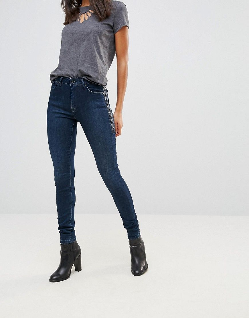 ececec48adc Get this Pepe Jeans s skinny jeans now! Click for more details. Worldwide  shipping. Pepe Jeans Dynamite High Rise Skinny Jeans - Blue  Jeans by Pepe  Jeans