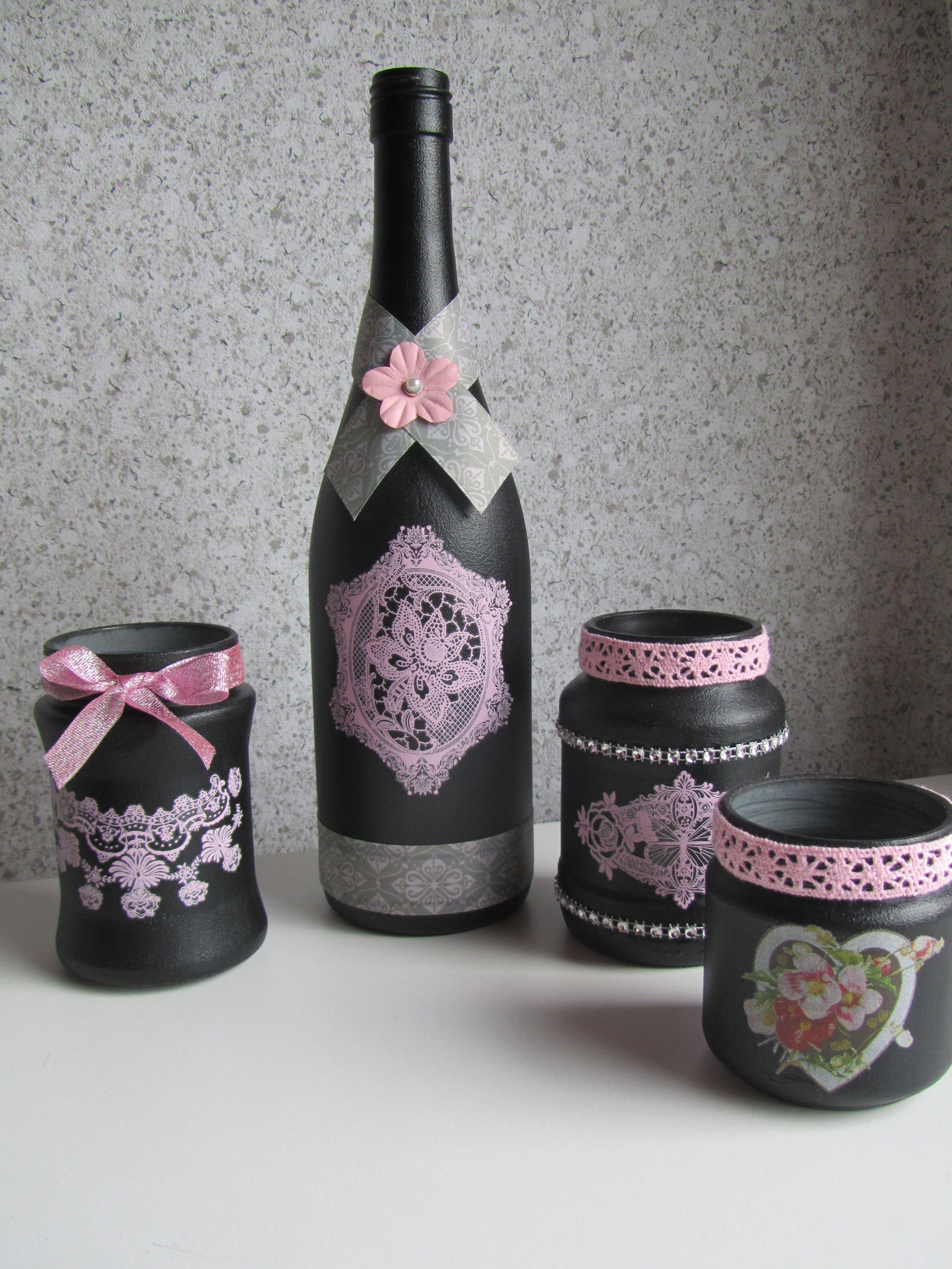 Flessen Potjes Met Gesso En Acrylverf