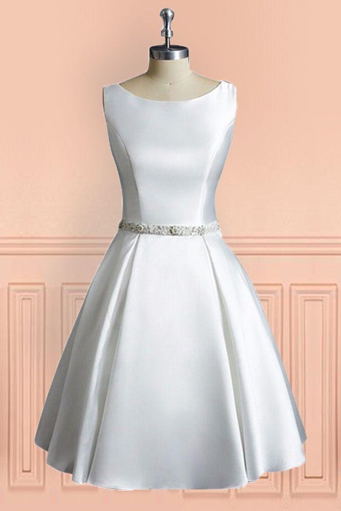 Simple Vintage A Line Satin Short Wedding Dress Reception Sleeveless ...