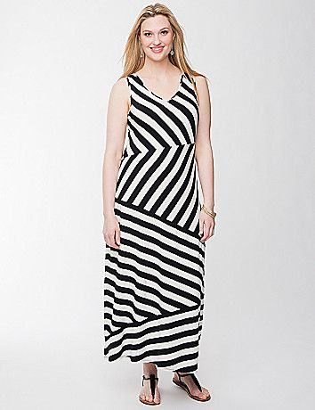 A marvelous maxi dress for Summer and beyond, this beauty makes a trend-bending statement with its spliced stripe motif. Ultra-flattering and ready for anything, you'll love the way you look and feel in this soft knit dress. V-neck and V-back give it an alluring shape, with wide tank straps so you can wear it with your favorite bra, too. lanebryant.com