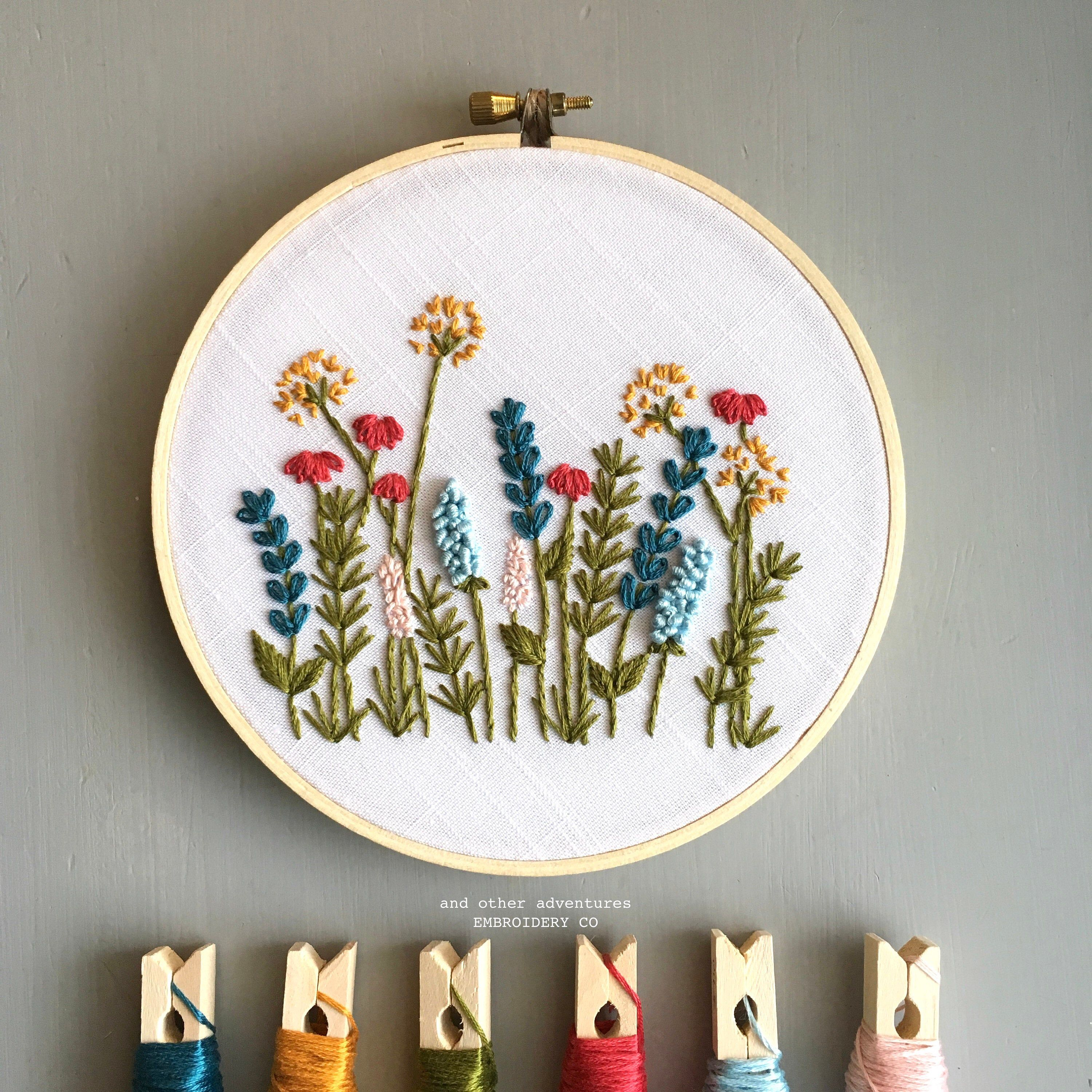 Modern Hand Embroidery KIT - Bright Summer Meadow DIY Embroidery Hoop by And Other Adventures Embroidery Co #embroideryfloss