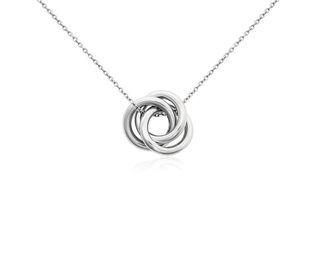 14k Yellow White /& Rose Gold Tri-Color Small Love Knot Pendant Necklace