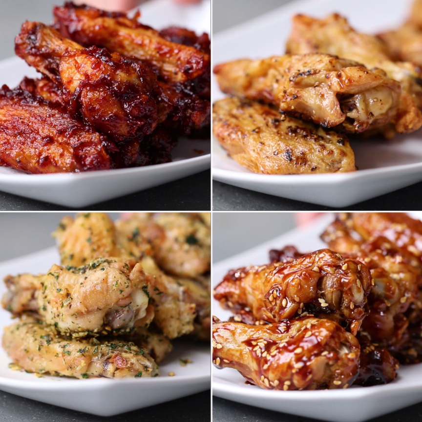 Oven-Baked Chicken Wings 4 Ways