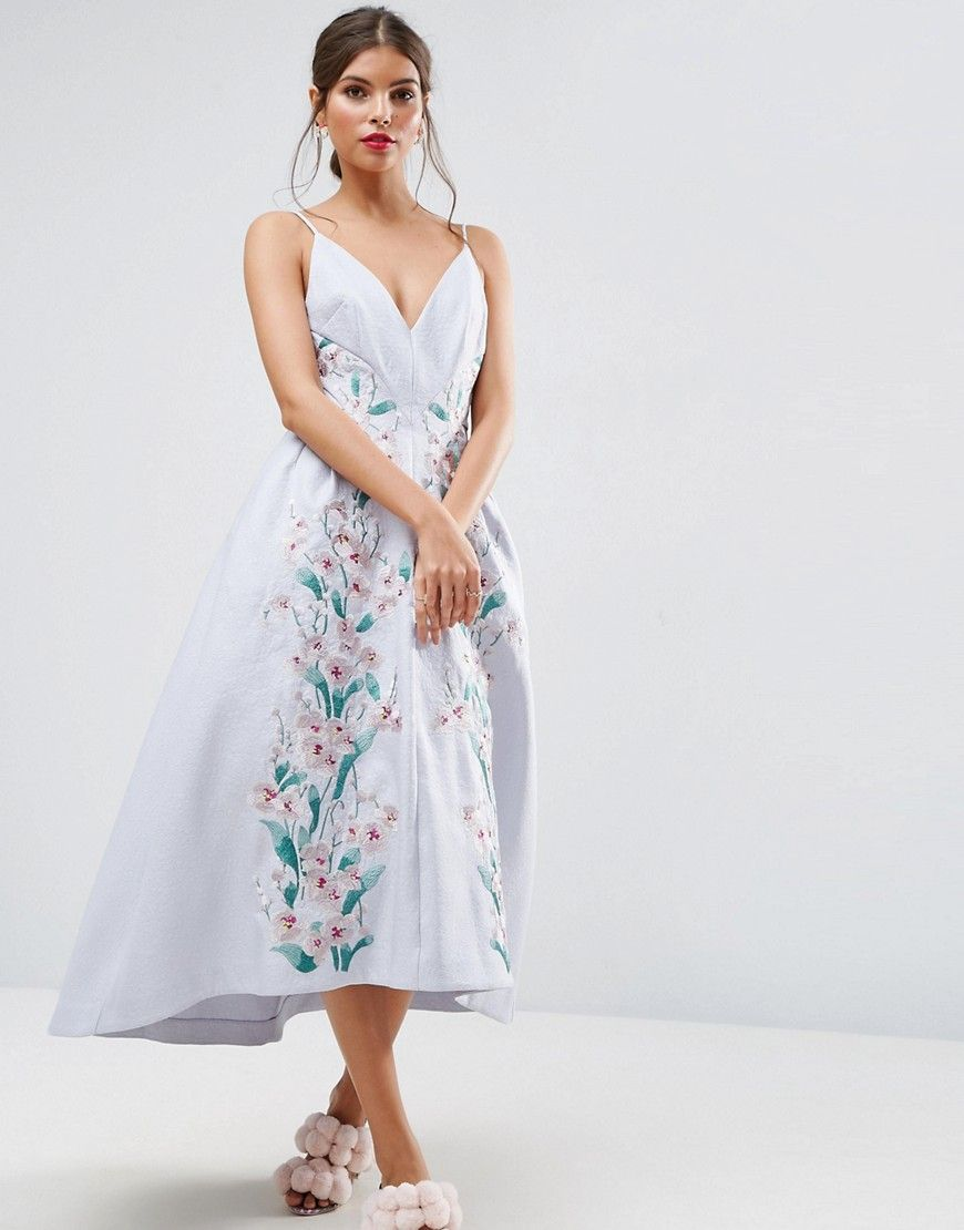 72fbe66c98d5 Asos Salon Midi Dress In Floral Organza Ebay