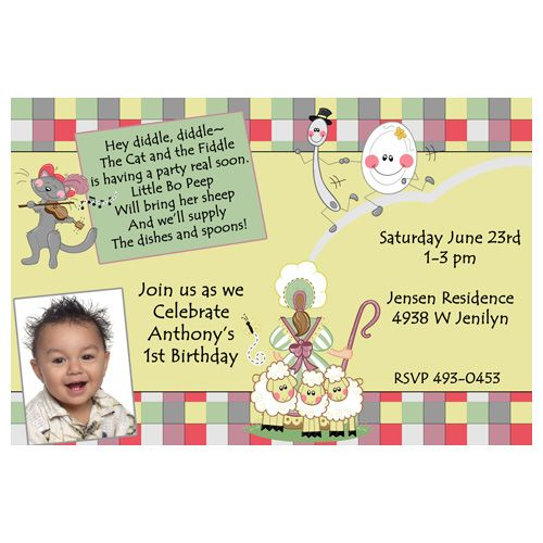 MOTHER GOOSE NURSERY RHYME BIRTHDAY PARTY INVITATION