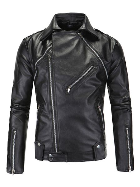 648476d2c97 Black Leather Biker Jacket For Men Side Zipper Cool Coat | Men ...